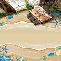 Free Shipping Self Adhesive Waterproof Living Room Bathroom Flooring Wallpaper Mural Home Decoration HD Beach Shell