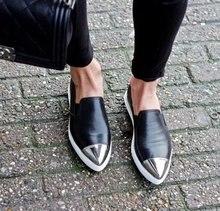 ยุโรปนิยมแฟชั่นวินเทจรองเท้าผู้หญิงจัดส่งบนแบนโลฟเฟอร์แหลมนิ้วเท้าลำลองกลางแจ้งรองเท้าผู้หญิงสีดำZ Apatos Mujer