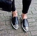 Europeu de Moda Popular Do Vintage Mulheres Sapatos Deslizamento Em Loafers Planas Pontas Do Dedo Do Pé Sapatos Casuais Ao Ar Livre Preto Mulher Zapatos Mujer