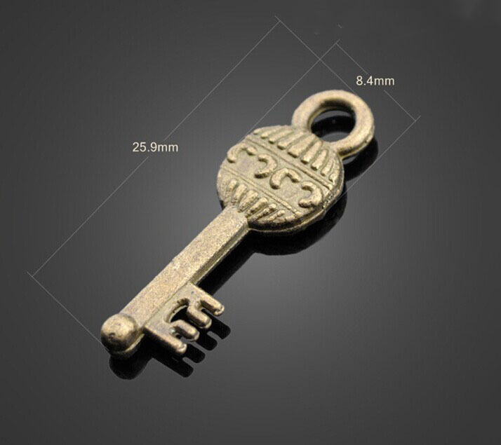 Купить с кэшбэком 100pcs Antique Bronze Key Charms Pendant-DIY Jewelry Findings Coat Chain Necklace Braclet Cell Phone Accessories 25.9mmX8.4mm