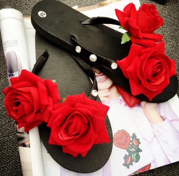 8d818e41591a32 Big Size 42-43 Women Slippers Summer Beach Female Shoes Fashion Girl Flip  Flops Red Rose Flower Sandals Water Upstream Shoes