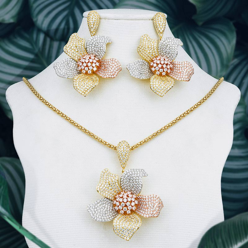 ModemAngel Elegant Flower Wheel Pendant Necklace And Earring Set 3Tone Full Cubic Zircon Copper Women Wedding