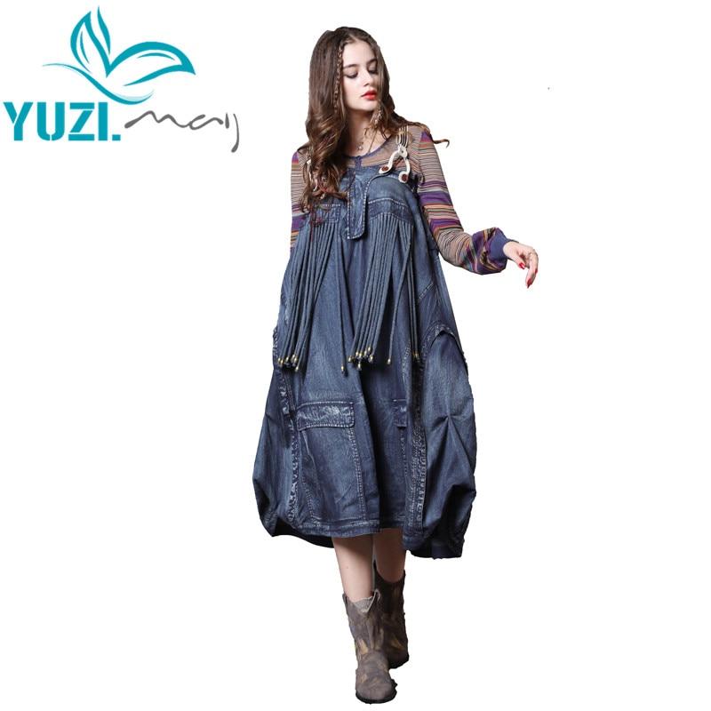 Dress Women 2018 Yuzi may Boho New Denim Women Dresses Detachable Shoulder Girdle Vintage Tassels Combo
