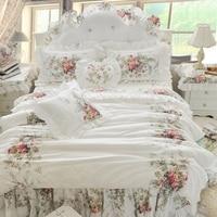 00a1eaeae1 Free Shipping Korean Princess Lace Cotton Bedspread Floral Bed Skirt  Bedding No Filler Duvet Cover Set
