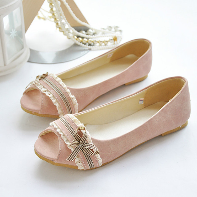 Onlytruelove 2017 New Arrival Pu Leather Spring & Autumn Flats Shoes Women Peep Toe Slip on 3 Colors Casual Shoes Plus Size:43