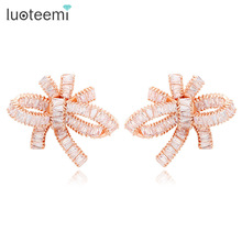 LUOTEEMI Europe Hot Sale Luxury Super Star Design Sparkling Cubic Zirconia Women Wedding Big Bowknot Stud