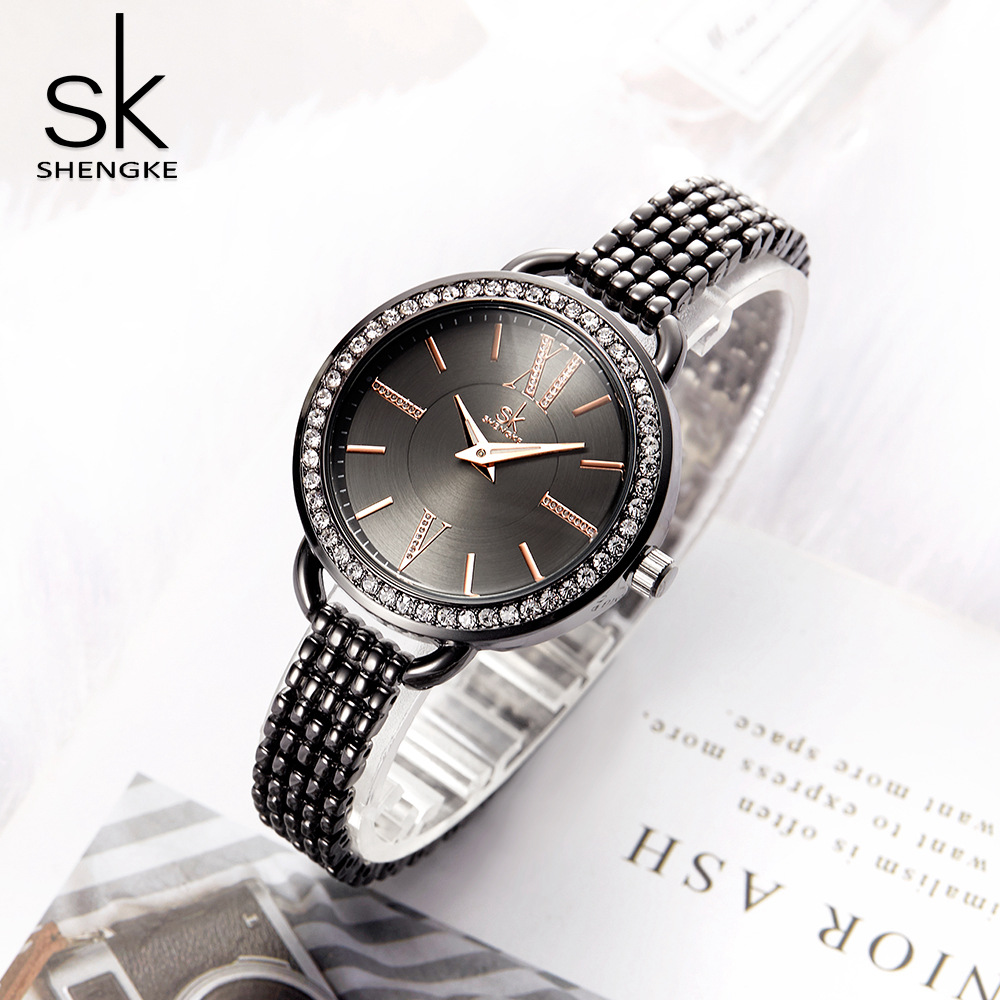 Shengke Jewelry Gifts For Women's Luxury Black Steel Quartz Watch Brand Women Watches Fashion Ladies Clock Relogio Feminino