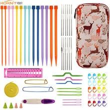 KOKNIT Knitting Needles Hooks Set 14pcs Straight 12pcs Small Lace Crochet Hook Sewing Kit with Cute Bag