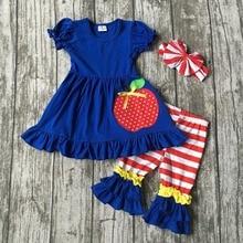 Enfants vêtements filles boutique vêtements filles retour à l'école tenues filles d'été tenues boutique vêtements apple ensemble avec des arcs