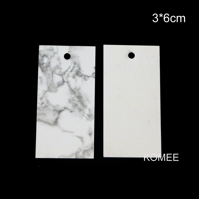 New Fashion 50Pcs/lot White Paper Cards 3x6cm Rectangle Hang Tags Marbling Design Jewelry Display Cards Price Label Tags