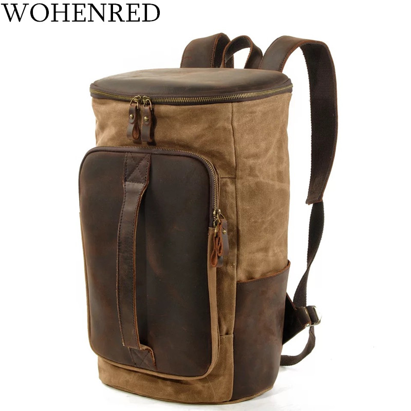 WOHENRED Leather Canvas Backpack For Men Large School Laptop Bookbag Vintage Waterproof Weekend Travel Duffel Rucksack MaleWOHENRED Leather Canvas Backpack For Men Large School Laptop Bookbag Vintage Waterproof Weekend Travel Duffel Rucksack Male