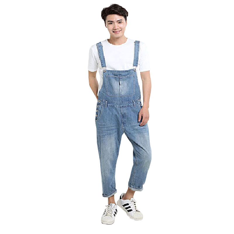 Men's Plus Size XS-5XL Pocket Overalls Men Jeans Fashion Denim Jeans For Lovers Loose Jumpsuits Male Brand Pants High Quality 2014 new fashion reminisced men vintage trousers casual jeans wash capris pants loose plus size overalls zipper denim jumpsuit