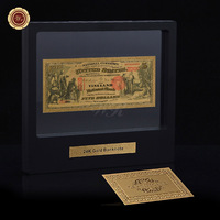 WR Luxury Home Decor Colorful American Gold Banknote Collectible 1875 Year USD 5 Rare Banknotes with Showing Stand 1:1 size