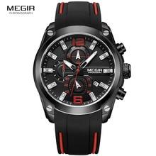 цена Megir Mens Quartz Analogue Chronograph Watches Sport Military Silicone Bracelete Luminous Hands Date Indicator Wristwatch 2063G онлайн в 2017 году