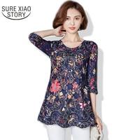 2017 Plus Size Women S Long Blouses Summer Fashion Style Female Shirt Embroidery Flower Blusas 820B