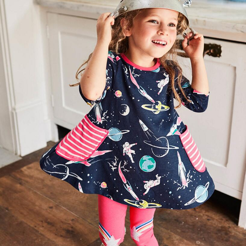 fee8b14b759 Купить Little maven Комплекты детской одежды для девочек на осень из  коллекции 2018 года хлопковые брендовые Длинные рукава пространство Платье  с принтом.