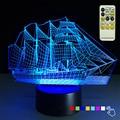 Парусная Лодка Рождественский Подарок 3D Night Light 7 Цветов Изменение Стол таблица Lampara Светодиодные Лампы Детские Игрушки для Партии Света Дистанционного Управления