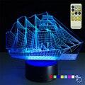 Barco de vela de Regalo de Navidad de Luz Nocturna en 3D 7 Que Cambia de Color de Escritorio Lampara de mesa Llevó La Lámpara Del Bebé Juguetes para la Fiesta de Luz de Control Remoto