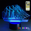 Sailing Boat Christmas Gift 3D Night Light 7 Color Changing Desk Table Lampara Led Lamp Baby Toys for Party Light Remote Control
