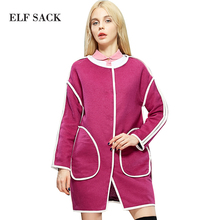 ELF SACK Women Winter Fashion Round Collar Long Sleeve Pu Covered Seam Trench Warm Solid Woolen Overcoat