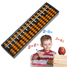 15 Digits 5 Beads Brown Plastic Abacus Soroban Beads Column Calculating Tool Toy Chinese Educational Math Toys Gifts For Kids