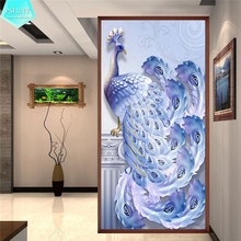 PSHINY 5D DIY Diamond embroidery sale blue peacock animal Full drill round rhinestones pictures Diamond Painting new arrivals цена 2017