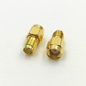 Image 2 - 1000 Stücke Messing Vergoldet Sma buchse auf RP SMA Stecker Gerade RF Koaxial Koax adapter verbindungs