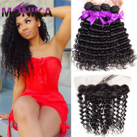 Monika Hair Deep Wave Brazilian Hair Bundles with Frontal Human Hair Bundles With Closure 13x4 Lace Frontal Closure With Bundles