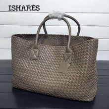 ISHARES classic designer handbags women sheepskin knitting totes bags fashion woven shopping basket large casual bags IS115664