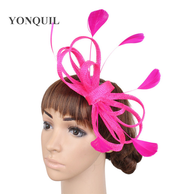 Ladies Hair fascinators wedding hats headbands navy white blue headwear  with feather hair accessories women event hast SYF271 d614593a151