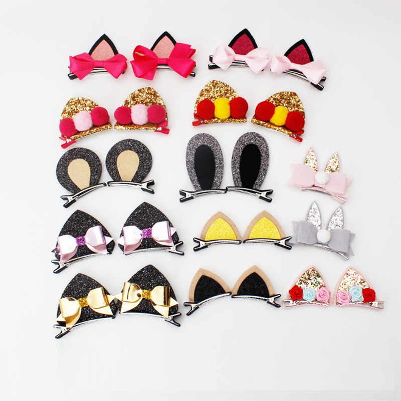 2pcs New Stereo Double Cat Ears hair clips Sequins Cute Rabbit Ears Shape Hairpins Kids barrettes Girls Headdress Hair Accessory