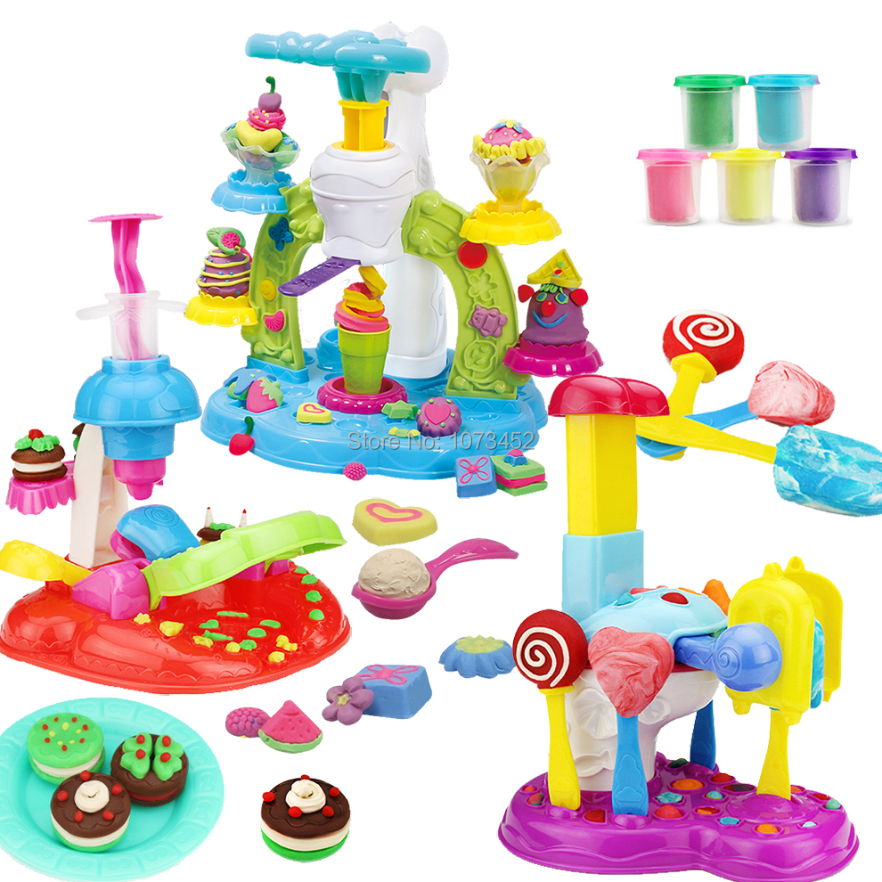 3D Colored dough modeling colorful plasticine clay with doughs icecream & ice lolly & perfect cookies maker educational kids toy