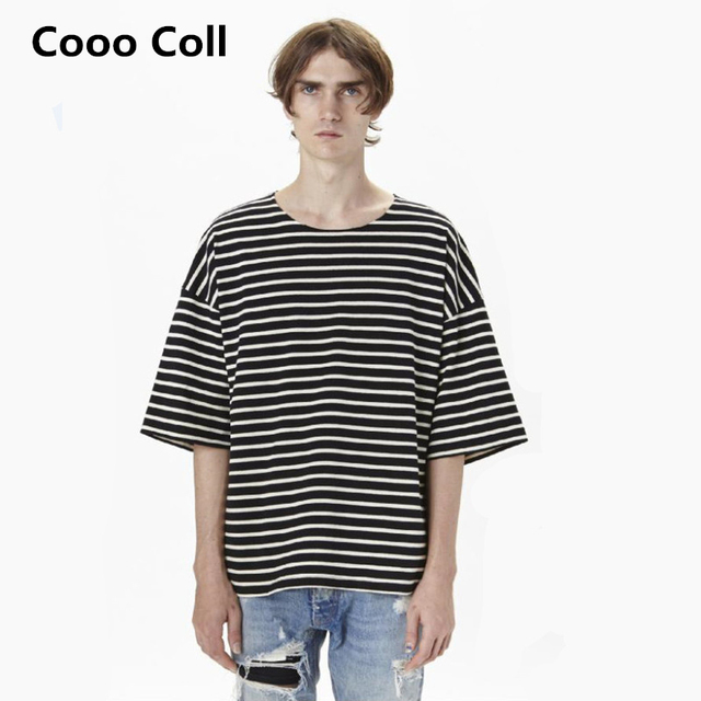Fashion Men Oversize Brand Chris Brown Kanye West Justin bieber Fear of god Striped half street T-shirt Top Tee shirt Cooo Coll