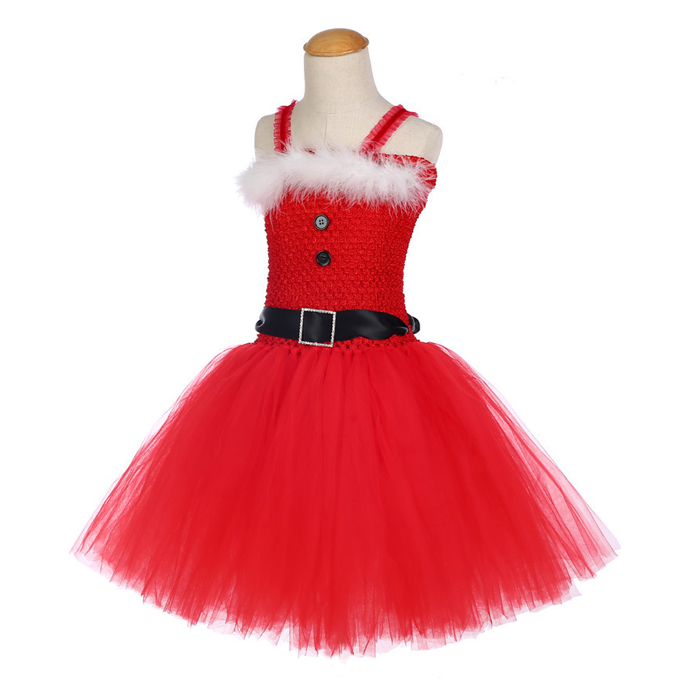 Girls Christmas Santa Winter Dress with Feather and Sashes Handmade Red Puffy Dress for Kids Birthday Tutu Party Dress Clothes (3)
