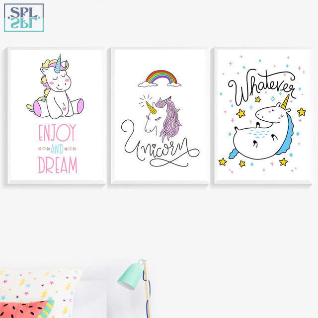 SPLSPL Unicorn Wall Art Print Canvas Painting Nordic Poster Animals Cartoon Pictures For Kids Room Decoration No Frame