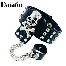 Gothic Skeleton Skull Chain Link Rock Rivet  Cuff  Black Leather Punk Bangle Bracelet S054