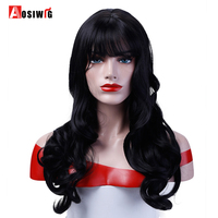 Black Long Wavy Curly Wigs Synthetic Hair Costume Halloween Party Heat Resistant Cosplay Wigs For Women