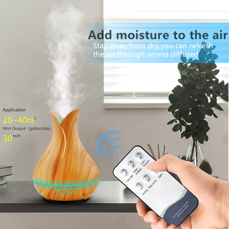 Image 3 - 400ml Aroma Essential Oil Diffuser Ultrasonic Air Humidifier with Wood Grain 7 Color Changing LED Lights for Office Home-in Humidifiers from Home Appliances