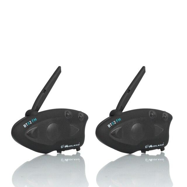 2 個ミッドランド BTX2 オートバイの Bluetooth ヘルメットヘッドセットインターホン FM バイク BT インターホンハンズフリー通話 800 メートル
