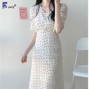 Image 3 - קיץ שיפון שמלות אישה פרחוני חג תאריך חמוד קוריאני יפן סגנון בגדי עיצוב קו קשת עניבת חולצה שמלת ארוך ורוד 603