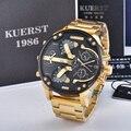 KUERST мужские золотые часы люксовый бренд водонепроницаемые спортивные кварцевые часы Четыре часовых пояса дисплей большой циферблат наруч...