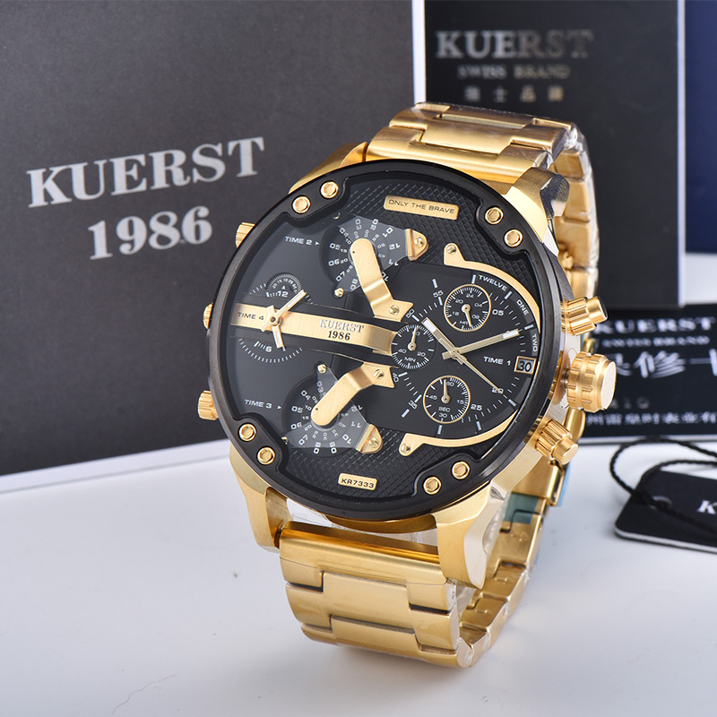 KUERST Men's Gold Watch Luxury Brand Waterproof Sport Quartz Clock Four Time Zone Display Big Dial Wrist Watch Men 2019 New