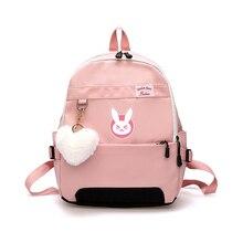 Game OW DVA Harajuku mochila de nailon para mujer, mochilas de viaje con estilo, mochila de estudiante de la escuela, mochila de viaje para portátil para adolescente