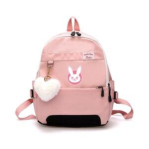 Image 1 - Oyun OW DVA Harajuku Naylon Sırt Çantası Kadın seyahat sırt çantaları Şık okul öğrenci çantası Paketi Genç Laptop Omuz Seyahat Çantaları