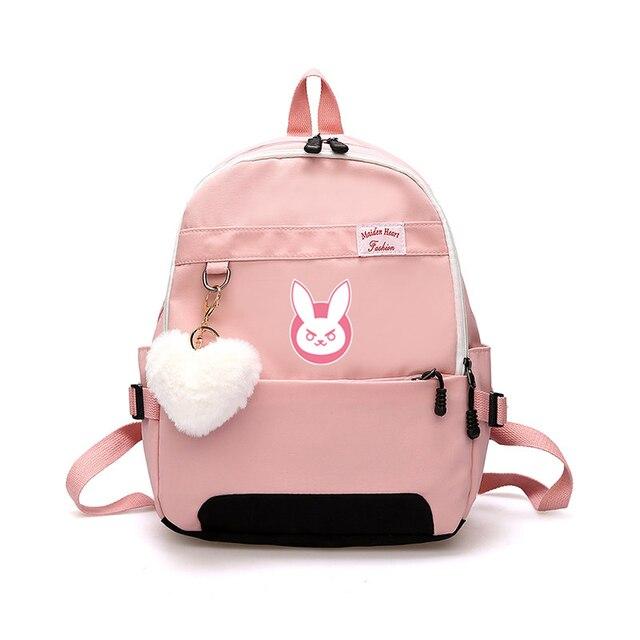 Oyun OW DVA Harajuku Naylon Sırt Çantası Kadın seyahat sırt çantaları Şık okul öğrenci çantası Paketi Genç Laptop Omuz Seyahat Çantaları