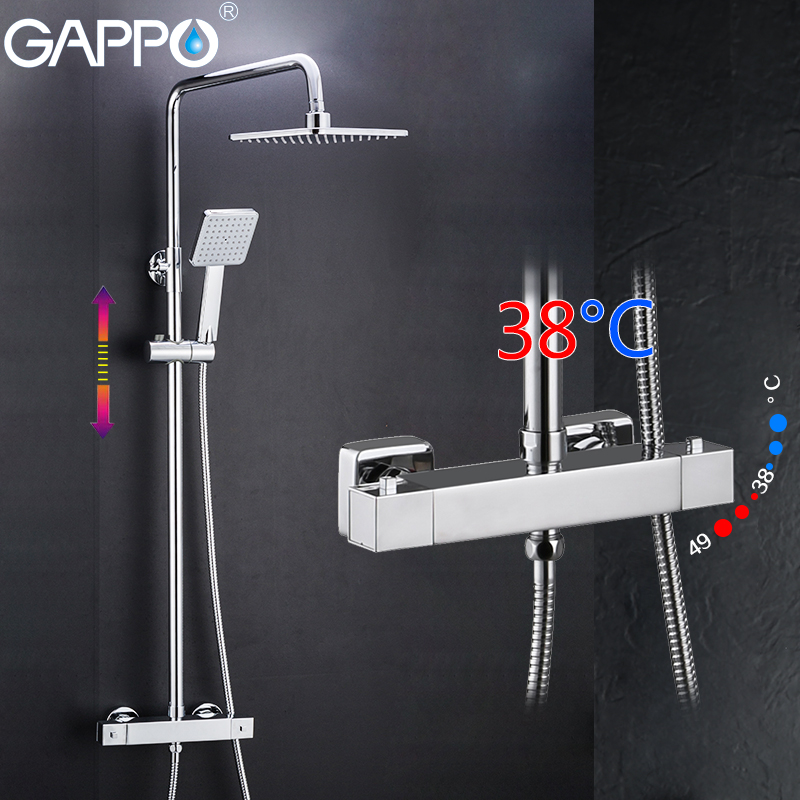 GAPPO Shower System bathroom thermostatic shower faucet bath shower mixer tap set waterfall bathtub faucet rain shower head set