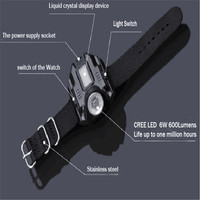 Led Watch Flashlight Flash Light CREE XPE Q5 R2 LED Wristlight Torch Light USB Charging Rechargeable