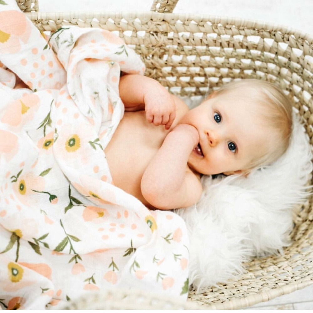 180g 100% Bamboo Fiber Muslin Blanket Print Floral Baby Bedding Bath Towels Blankets Newborn For Babies Swaddle Wrap Receiving