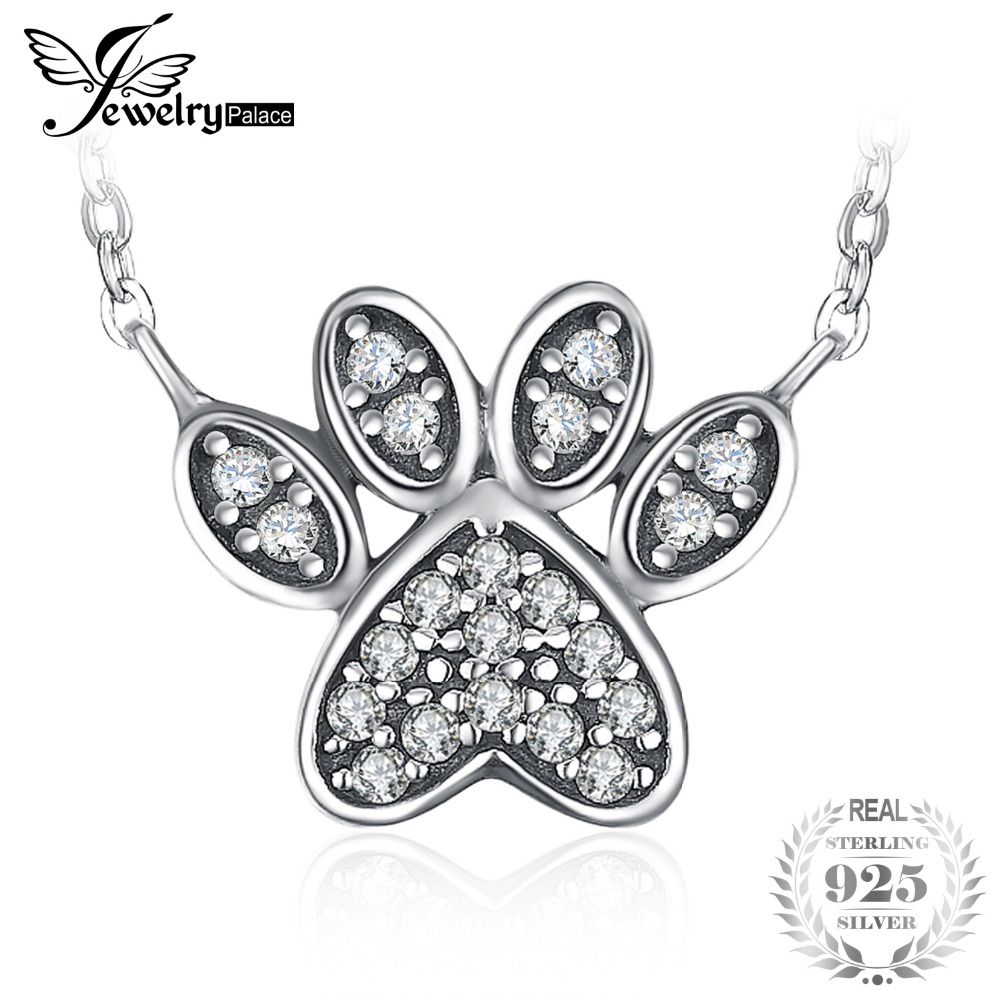 JewelryPalace Dog Paw Pave Bowknot Heart Star 0.2ct Cubic Zirconia Pendant Necklace 925 Sterling Silver Gifts For Women Fashion original dropshipping my sweet pet paw love necklace girl 925 sterling silver pendant necklace for women fashion jewelry gifts