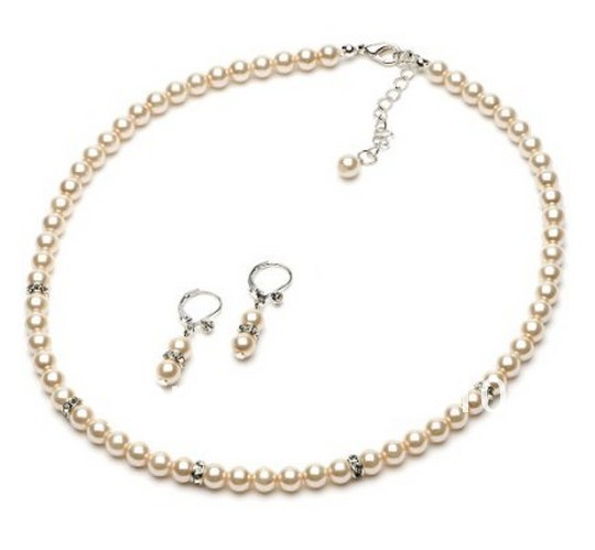 Elegant Wedding Jewelry Set White Pearl Rhinestone Rondelle Spacer